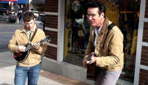 "Patrick Mitchell and Patrick Callahan busk with ""Blue Suede Shoes""-attachment0"