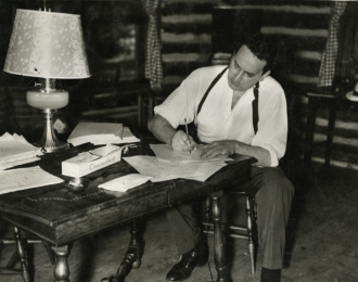 CABIN IN OTEEN: A photo of Thomas Wolfe during his visit back to Asheville in May, 1937.