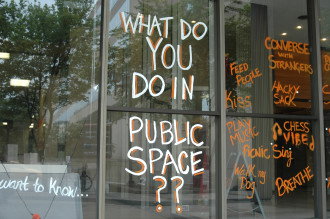 START HERE: The Asheville Design Center asked the public to share what they would like to do in a proposed public space on Haywood Street, rather than what the space should look like, at two recent open houses. Photo by Jane Morrell